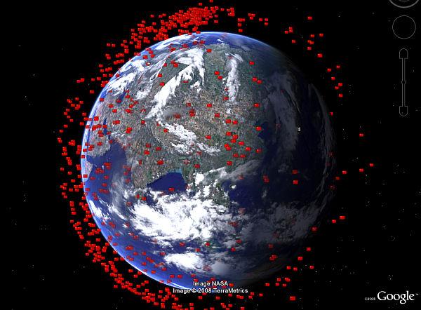 Space Debris Viewed In Google Earth Google Earth Blog - Google earth satellite