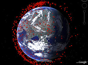 Debris from Chinese Satellite Destruction in Google Earth