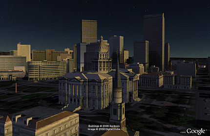 Atardecer en Denver en Google Earth 4.3