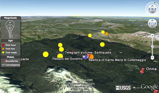L'Aquila Earthquake in Google Earth