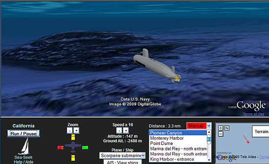 Submarine sim in Google Earth
