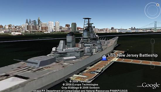 USS New Jersey Battleship in 3D in Google Earth