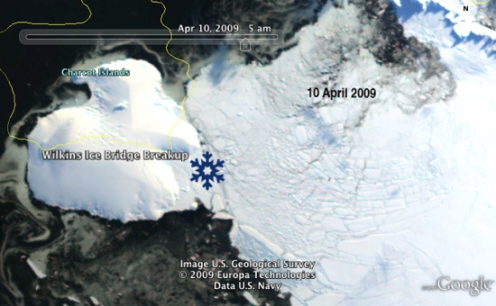 Wilkins Ice Shelf Collapse in Google Earth
