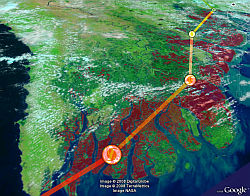 Myanmar Struck by Cyclone Nargis in Google Earth