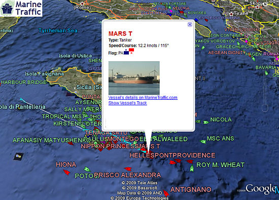 Marine Traffic vessel positions in Google Earth
