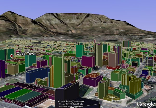 Cape town 3d buildings in color in google earth