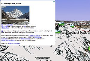 Northern Pakistan Mountain Region in Google Earth