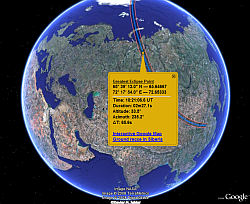 Eclipse Total del 1 de Agosto de 2008 en Google Earth