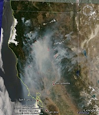 Incendios de California  - Junio 2008 en Google Earth