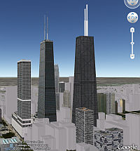 Two Hancock 3D Buildings in Google Earth