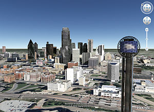Dallas, Texas in 3D in Google Earth
