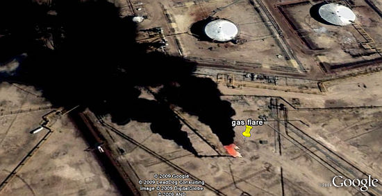 Llamas de Gas Venteado en Google Earth