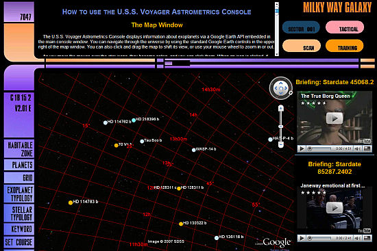 Star Trek-style view on exoplanets using Google Sky