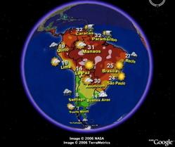 Pronósticos del Tiempo para Sud América en Google Earth