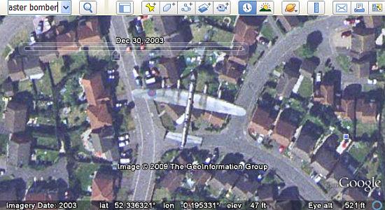 Avro Lancaster Bomber caught in flight in Google Earth