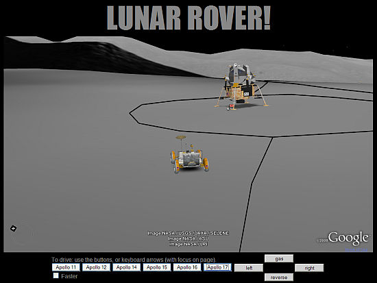 Lunar Rover simulator game in Google Earth