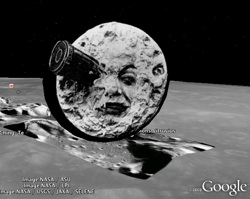 Moon cartoon in Google Earth