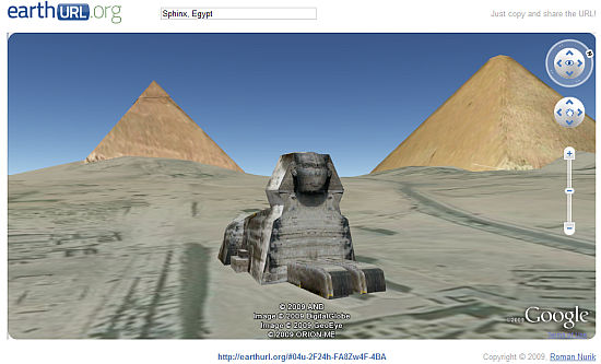 Sphynx and pyramids in Egypt in Google Earth