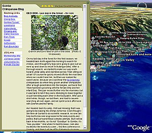 Jane Goodall Gombe Chimpanzee Blog/Geoblog in Google Earth
