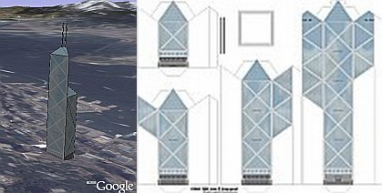 Paper 3D Buildings in Google Earth