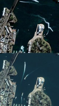 Comparison of Sydney in Google Earth and Windows Live Local