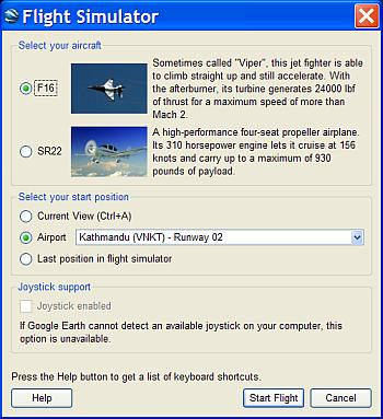 Flight Sim Requester Window in Google Earth