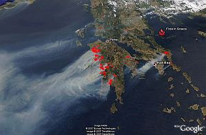 Greece Fires in Google Earth