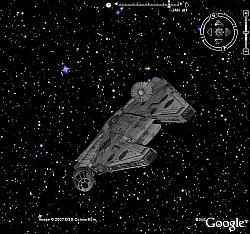 Han Solo in Google Earth Sky
