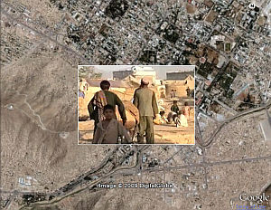 Screenshot of Afghanistan news tour in Google Earth