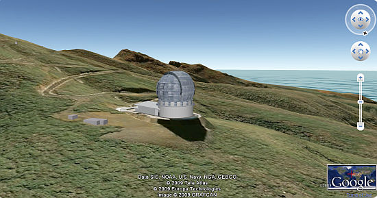 Gran Telescopio Canarias en Google Earth