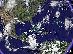 Hurricane Helene and Hurricane Lane in Google Earth