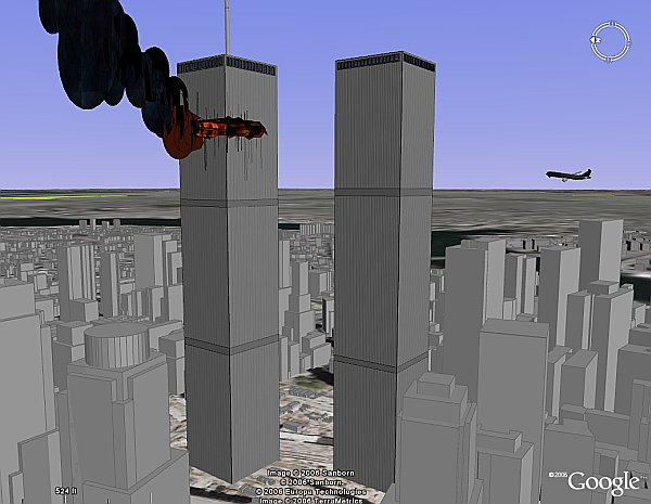 Flight UA175 WTC impact simulation on google earth