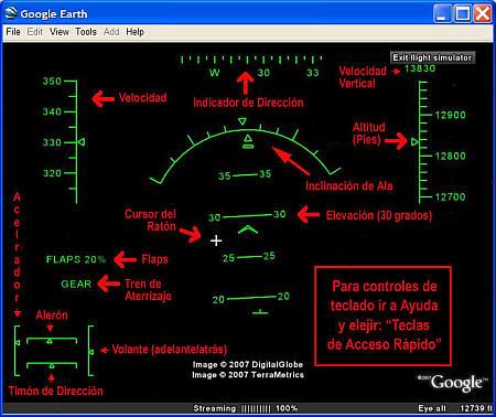Visor HUD de simulador de vuelo de Google Earth