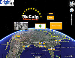 John McCain Geo-Biography in Google Earth