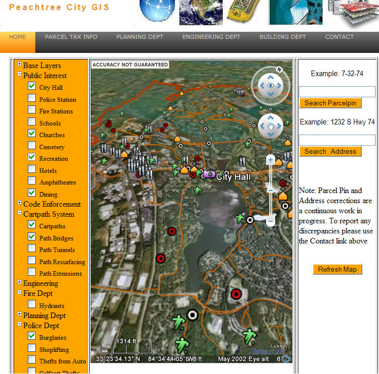 Peachtree city public information interactive map google earth blog peachtree city interactive gis map gumiabroncs Image collections