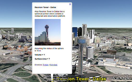 Reunion Tower math lesson in Google Earth