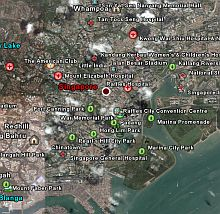 Singapore information tourist locations in Google Earth