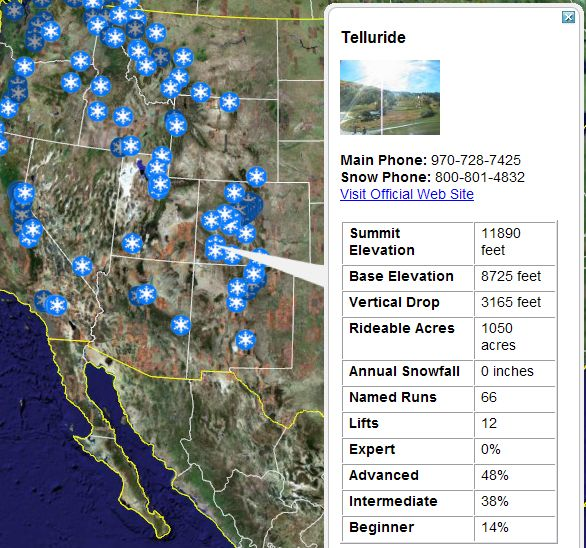 Ski Resorts And Snow Reports In Google Earth Google Earth Blog - Us ski resorts map