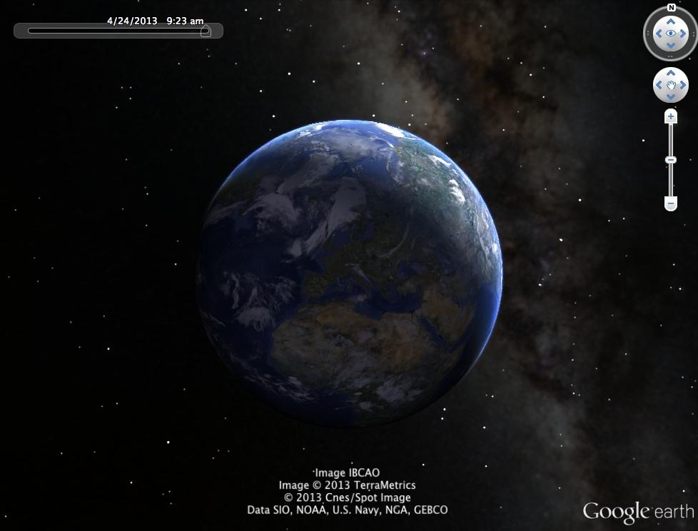 Google Earth 7.1 night sky