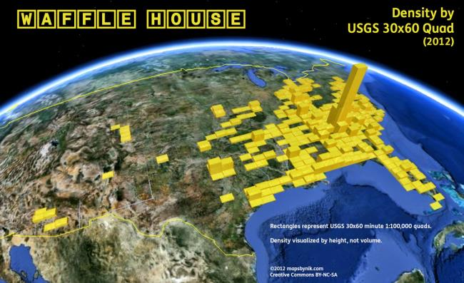 waffle house locations visualized on google earth google earth blog