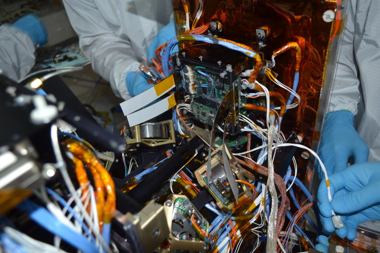The internals of a satellite