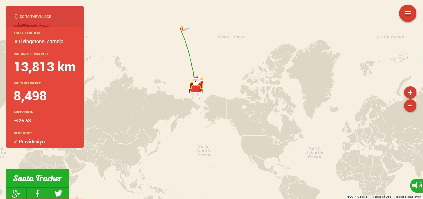 Google's Santa tracker shortly after launch