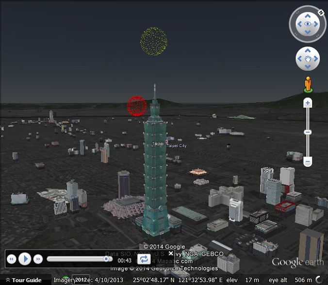 Fireworks in Google Earth