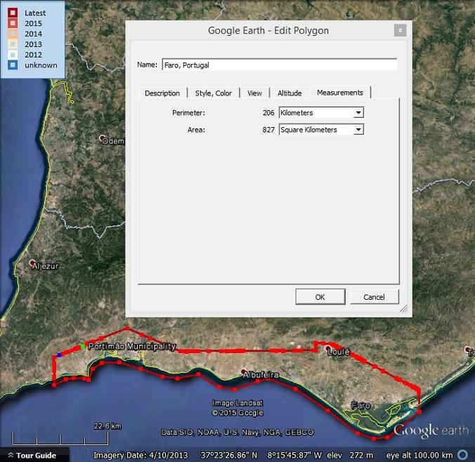 Area and perimeter of 3D around Faro