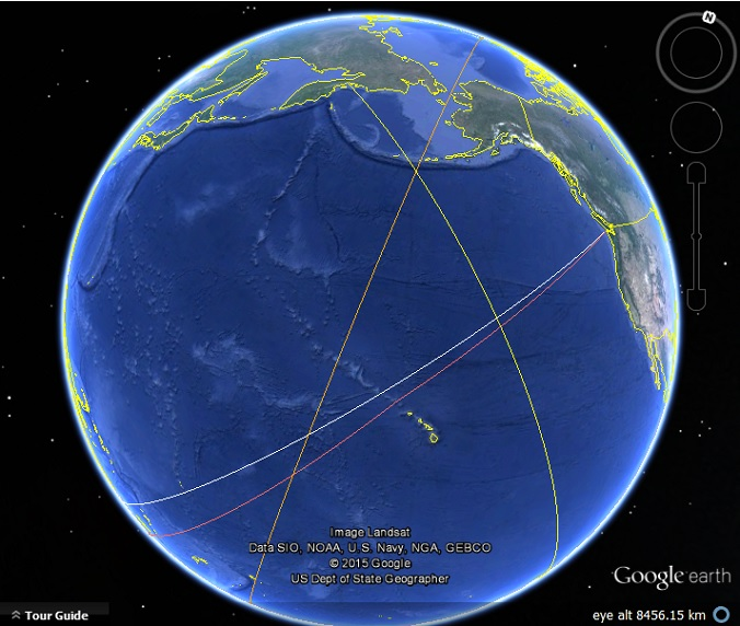Drawing Lines With Google Earth : The world s longest straight line sail google earth