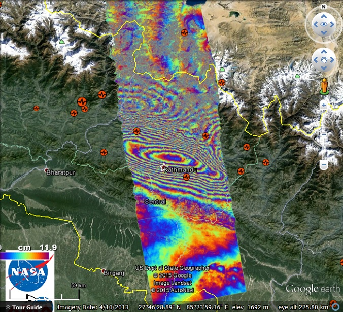 Surface deformation from the nepal quake google earth blog the movement being measured is the overall vertical movement of the ground as a result of the earthquake if i read the map correctly the ground moved gumiabroncs Image collections