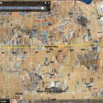 Satellite imagery strips and degrees of latitude and longitude