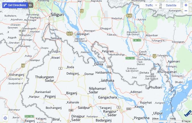 IndiaBangladesh enclaves  Google Earth Blog
