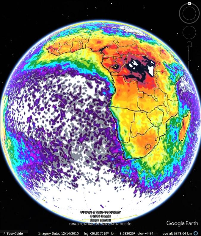 Lightning Strikes Map In Google Earth Google Earth Blog - Map of lightning strikes in the us